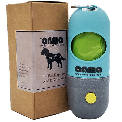 Aroma Pet Bag Dispenser with Built-in LED Flashlight and Leash Clip- 2 Pack