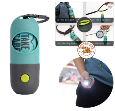 Dog Poop Bag Dispenser with Built-in LED Flashlight and Leash Clip