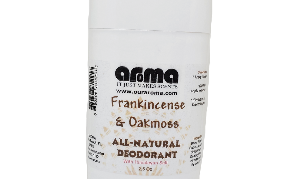 Aroma Frankincense and Oakmoss 2.5 Oz All-Natural Deodorant