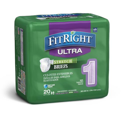 FitRight Stretch Ultra Incontinence Briefs with Center Tab - 20 Bag