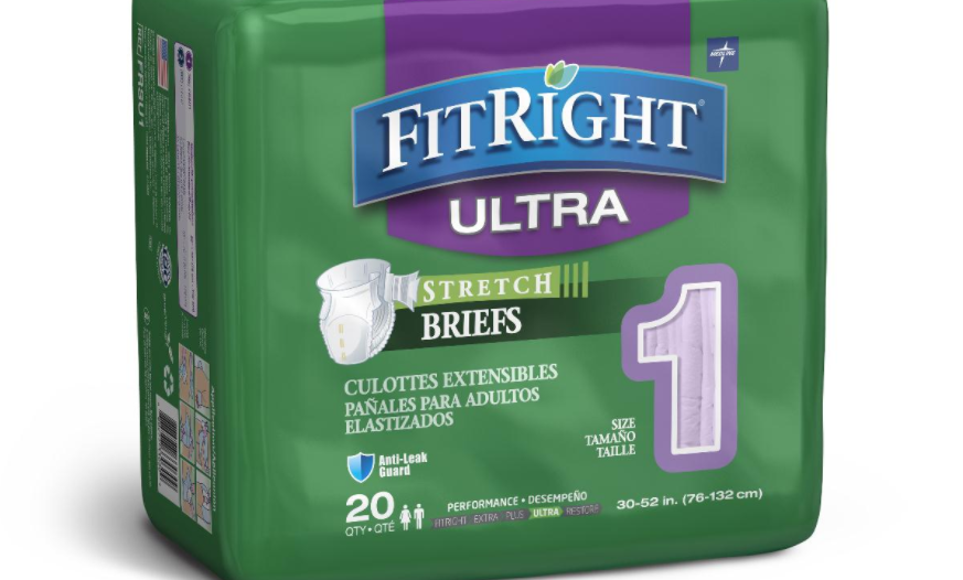 FitRight Stretch Ultra Incontinence Briefs with Center Tab - 80 Pack