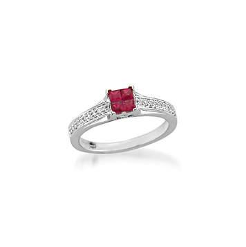 Princess Cut Ruby and Diamonds Ring|プリンセスカットルビーとダイヤモンドリング