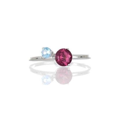 Rhodolite and Blue Topaz Ring