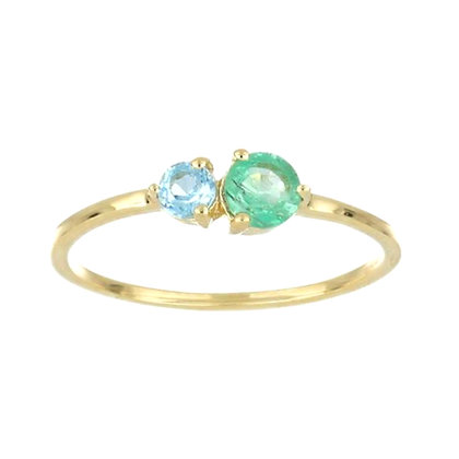 Blue Topaz and Emerald Gold Ring