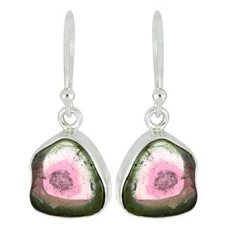 Watermelon Tourmaline Silver Earrings