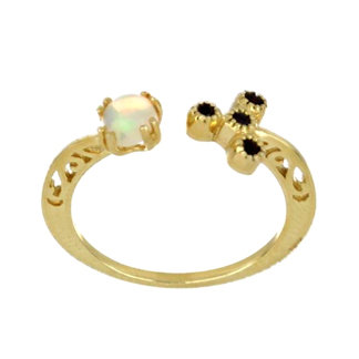 Opal and Black Spinel 14K Gold Ring