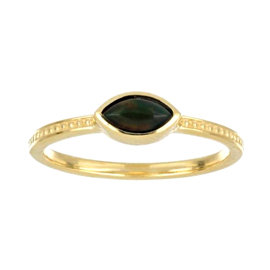 Gold Ring studded with Natural Black Opal