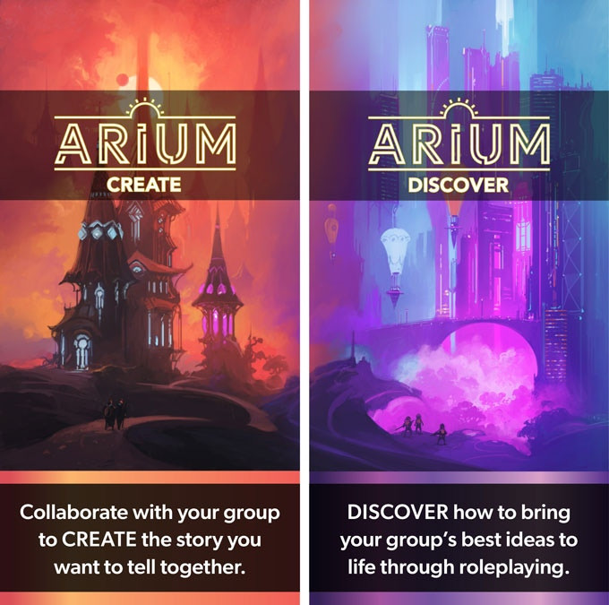 Against colorful fantasy backgrounds, art for Arium: Create (mostly red and orange) and Arium: Discover (mostly blue and purple)