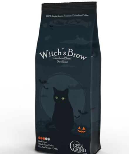 A black 12-ounce bag of Witch's Brew coffee, with a black cat sitting in front of a dark moon. A jack o lantern sits nearby.