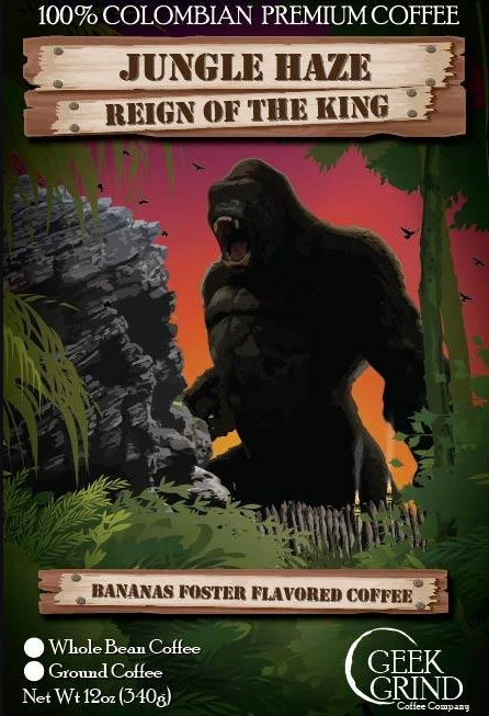 Bag art for Geek Grind Coffee's Jungle Haze flavor, showing King Kong in the jungle, roaring.