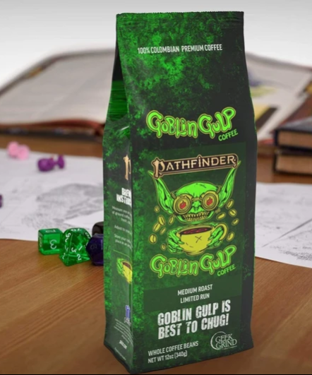 A green 12-ounce bag of coffee with the Pathfinder goblin drinking coffee.