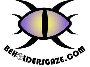 """The logo for Beholder's Gaze Dice company: A drawing of a single eye, in shades of purple and yellow with a narrow black iris, and eight pronounced eyelashes around it. Underneath, the text in black reads """"BeholdersGaze.com""""; the O in """"Beholders"""" is shaped like a d20."""