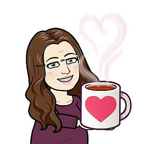 My self-portrait, created with Bitmoji. A drawing of me in a purple shirt, smiling anholding a coffee mug with a heart on it.