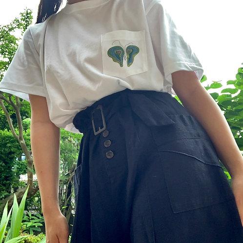 胸ポケ緑バタフライ