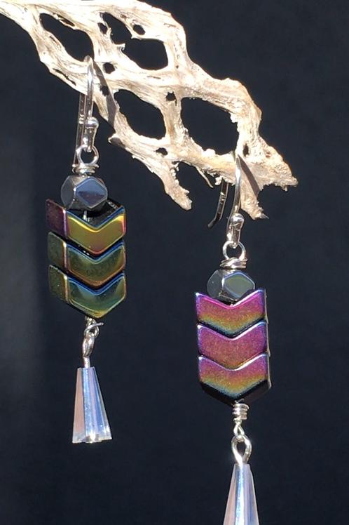 Hematite and czech glass drop