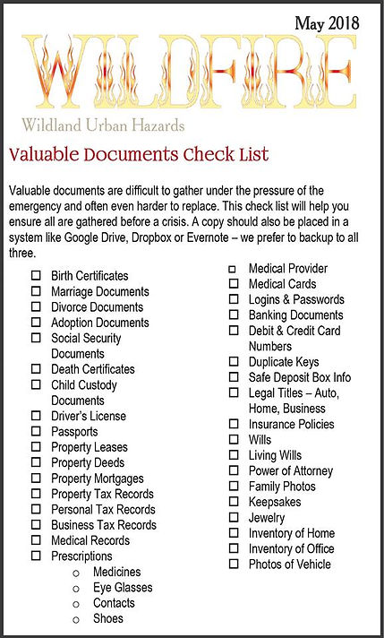 valuable documents checklist