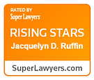 "Attorney Jacquelyn Ruffin, an associate lawyer at Myers Widders Gibson Jones & Feingold, has been selected a ""Rising Star"" in the 2017 Super Lawyers list."