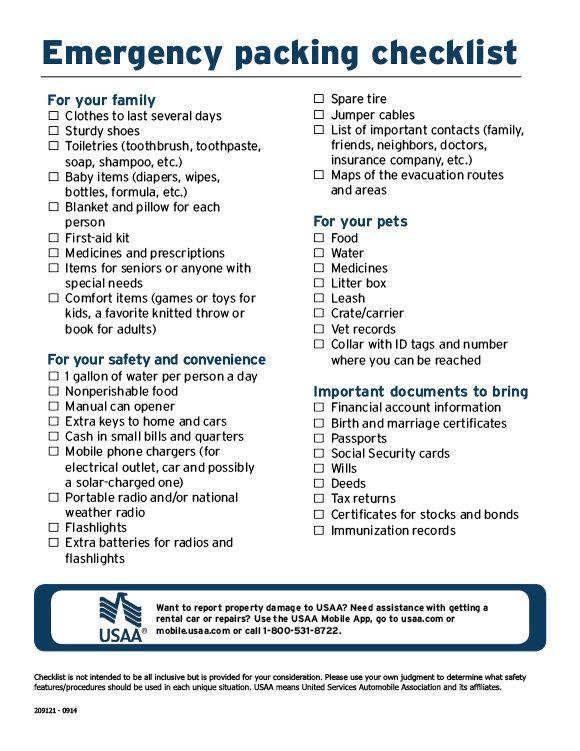 emergency packing checklist