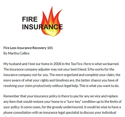 Fire loss article