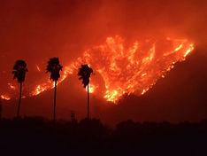 Hillsides on fire