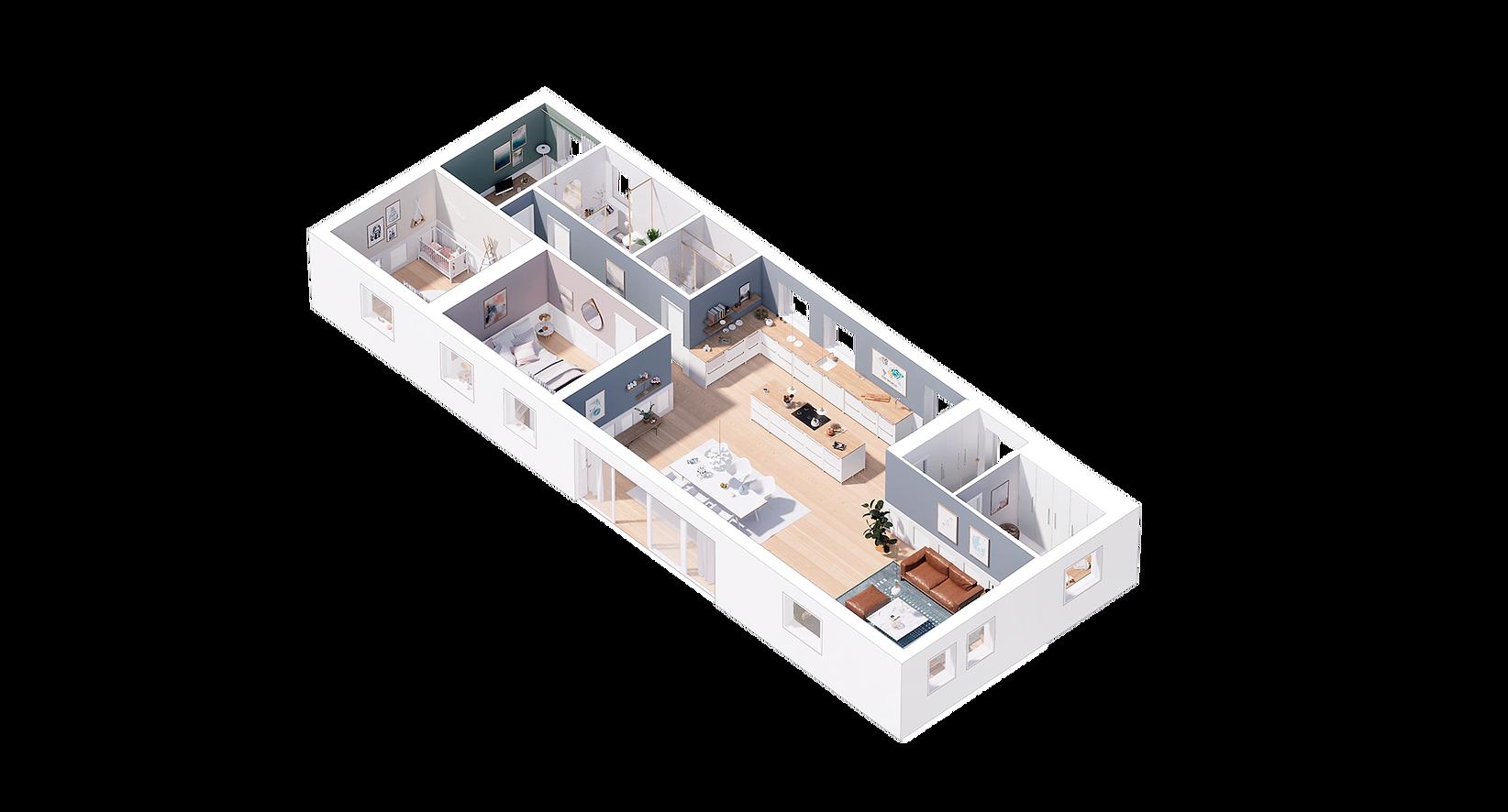 aksonometris tegning af bolig med integrere med tegn mit hus salg af bolig virtual reality