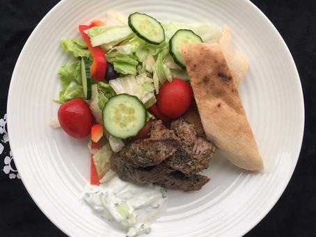 Mediterranean Lamb with Pita and Tztatziki
