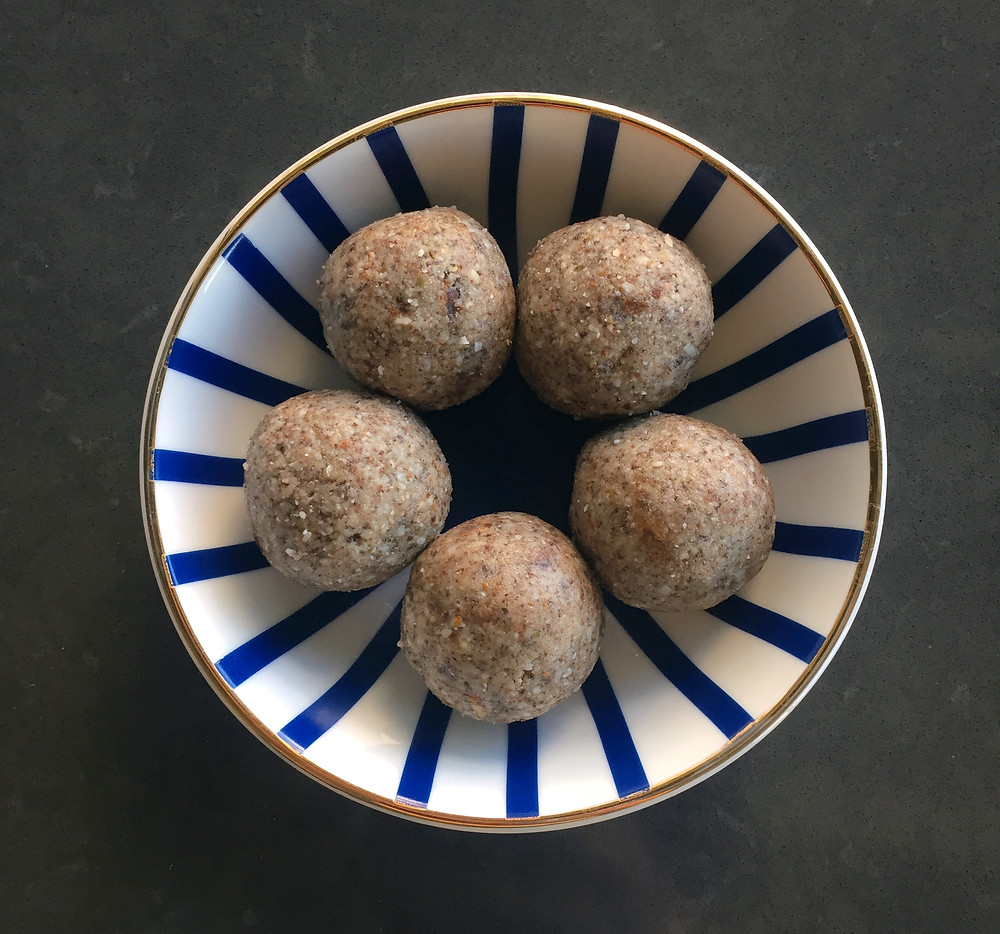 nut and seed balls in bowl