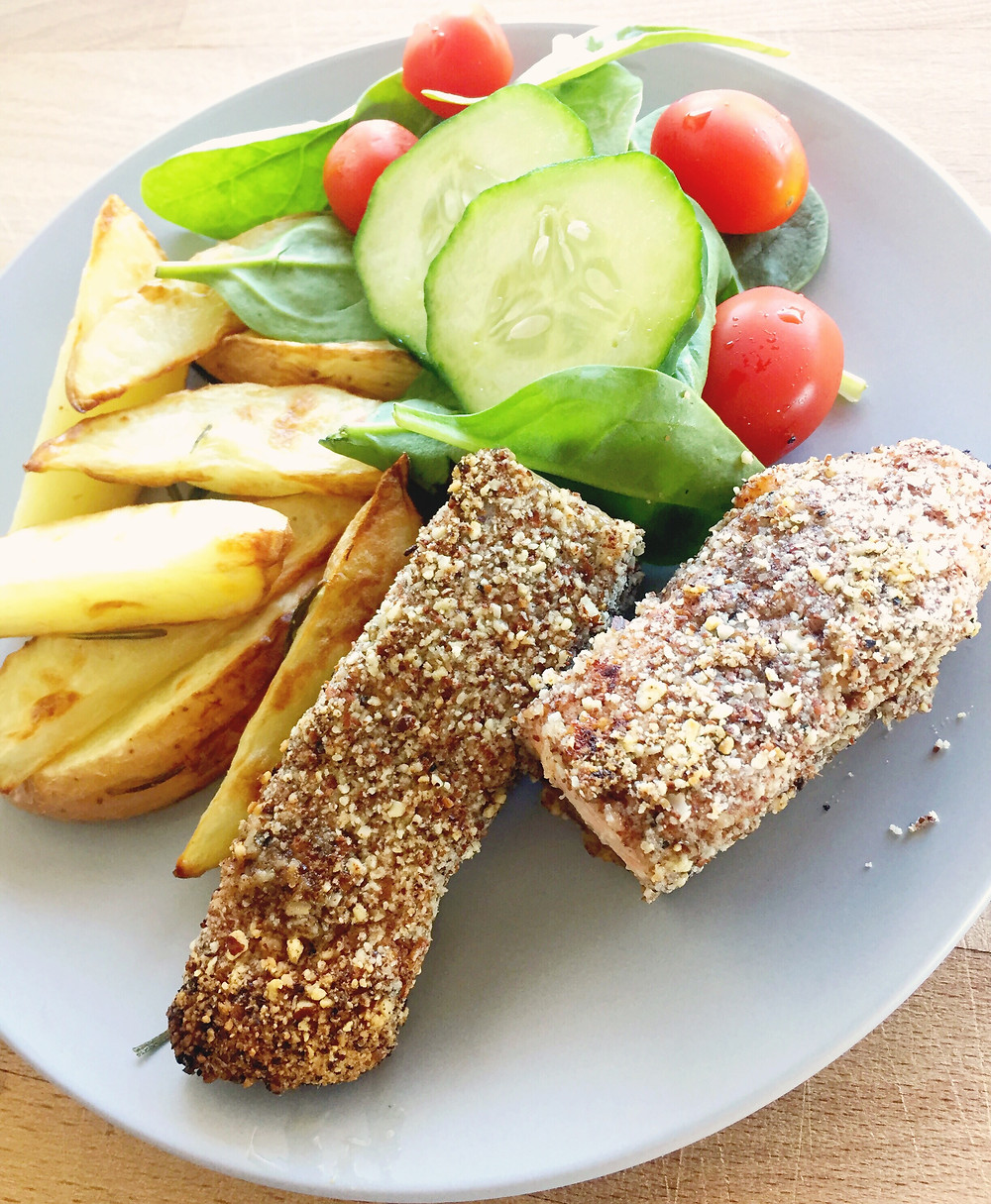 crusted salmon fillets, potato wedges, salad
