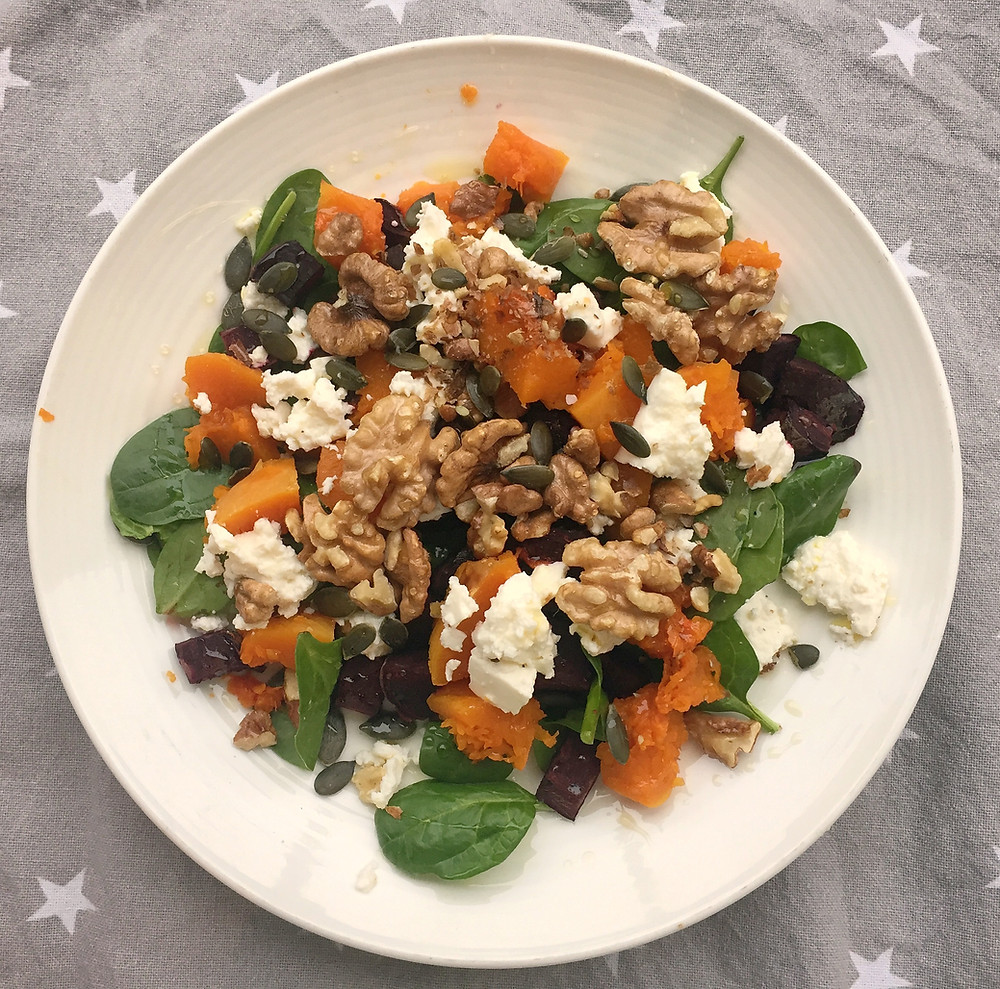 beetroot, pumpkin, feta, walnuts on spinach