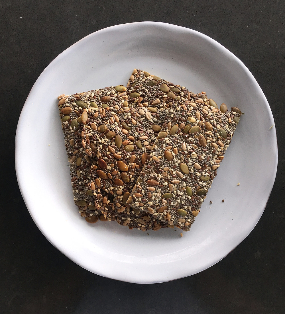 seed crackers on a plate