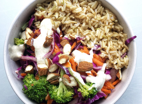 Broccoli, Red Cabbage, Carrot and Rice Salad