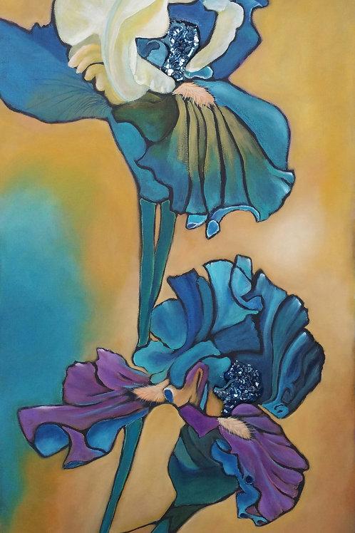 Teal Irises By Lesley Beth