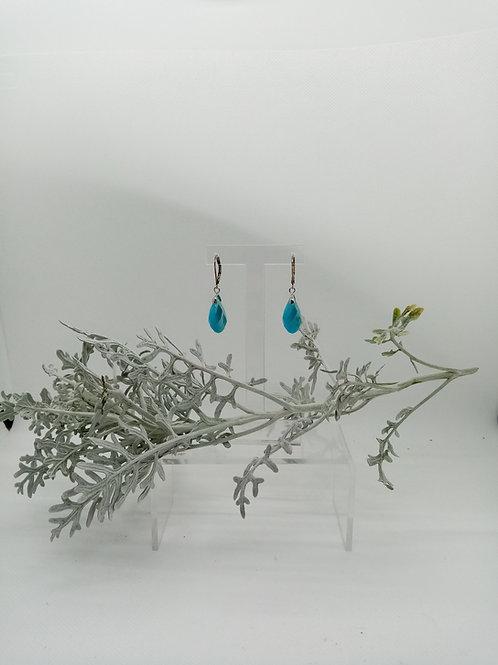 Boucles d'oreilles en Jaspe bleu turquoise Réf : 17