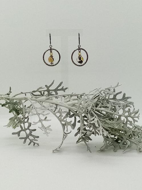 Boucles d'oreilles anneau et Murano Réf 34