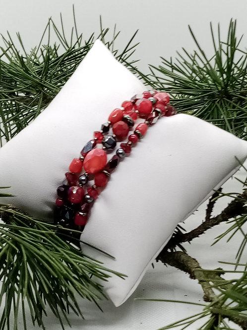 Bracelet 3 rangs en Jaspe rouge : 75