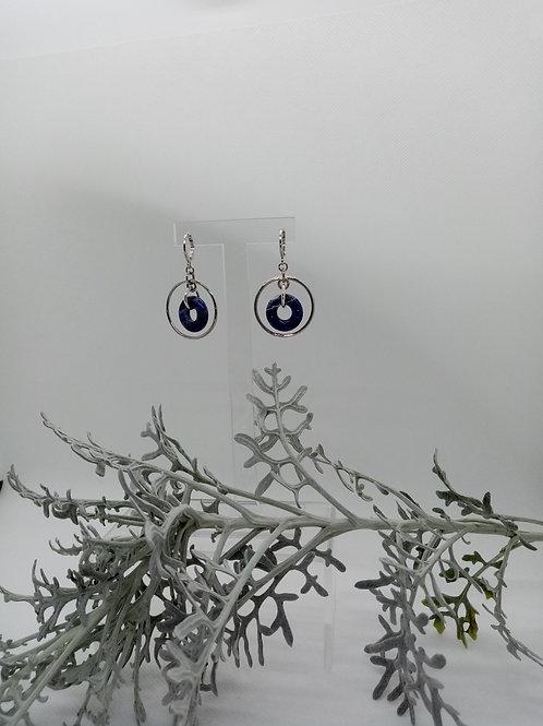 Boucles d'oreilles créole en Sodalite Réf : 16