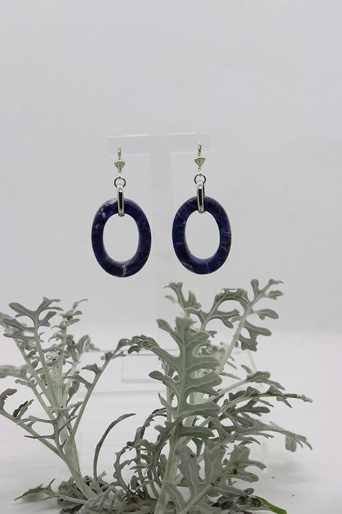 Boucles d'oreilles anneaux en Sodalite Réf : 92