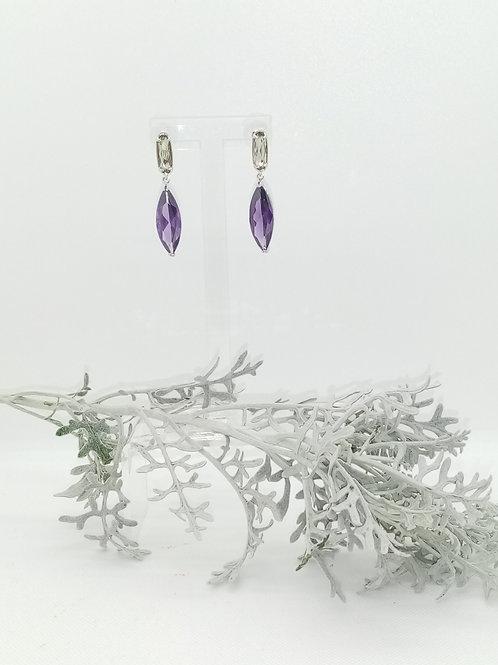 Boucles d'oreilles en Verre et cristal violet Réf : 42