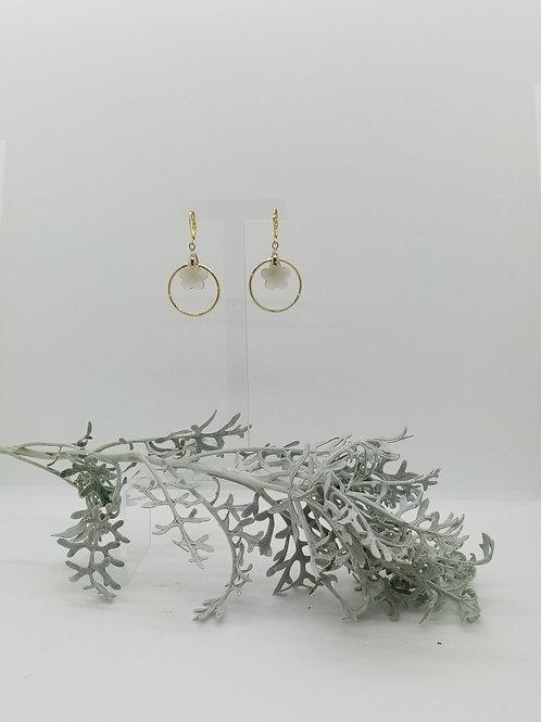 Boucles d'oreilles anneau et verre Réf 7