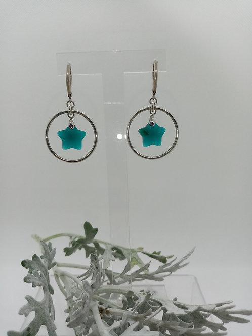 Boucles d'oreilles créole et verre Réf 6