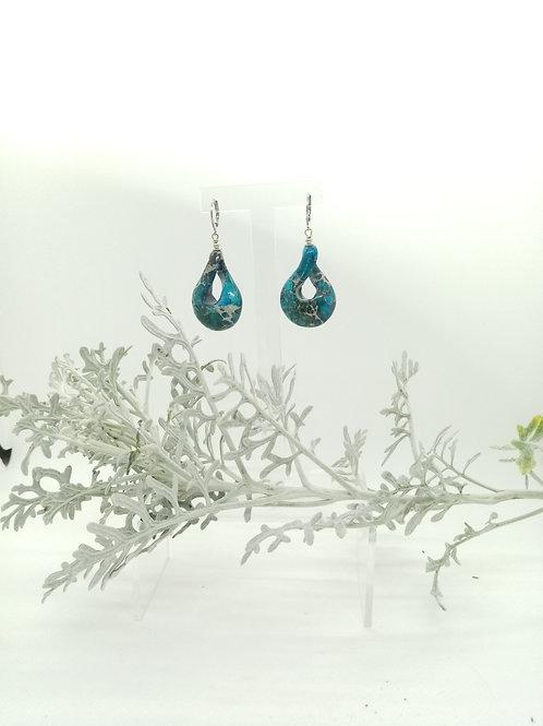 Boucles d'oreilles en Jaspe bleu turquoise Réf : 23