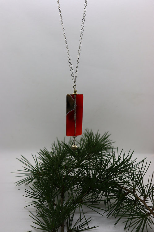 Pendentif en Agate rectangle orangé  Réf : 83