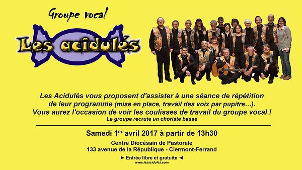 """Les Acidulés"""" en répétition publique, le 1er avril 2017"""