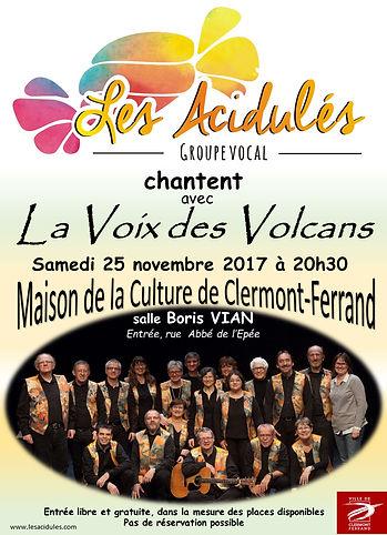 """""""Les Acidulés"""" et """"La voix des volcans"""", le 25 novembre 2017"""