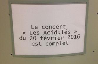 """""""Les Acidulés"""" concert complet le 20 février 2016"""