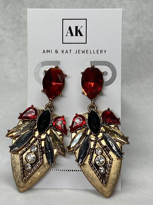 Vintage Crystal Burst Brass Earring
