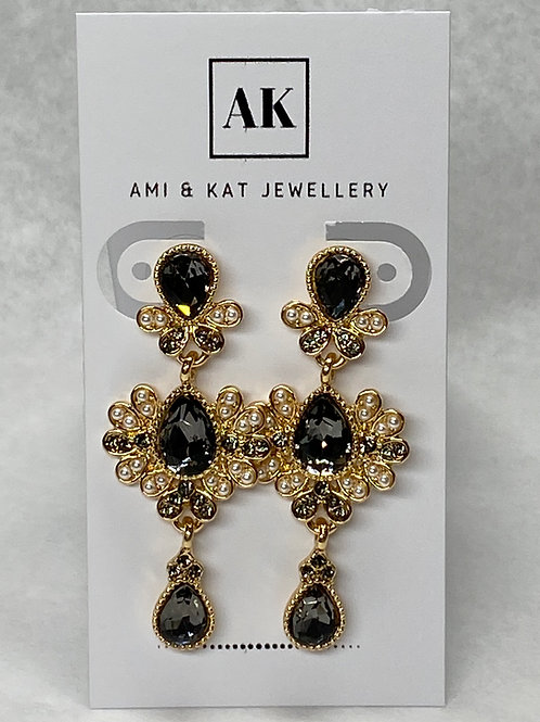 Vintage Smokey Stone and Tiny White Bead Earrings
