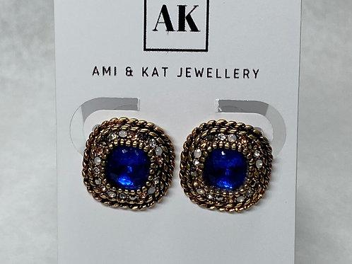 Blue Rhinestones Stud Earrings