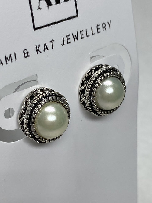 Faux Pearl and Silver Plate Stud Earrings