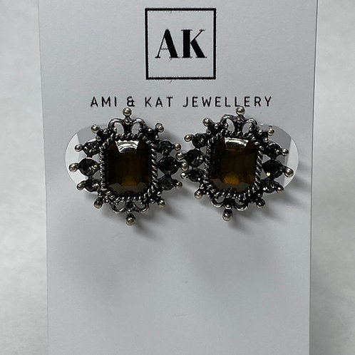 Vintage Amber Tone Butterfly Star and black Rhinestone Studs